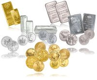 gold, silver, platinum, and palladium bars, bullion, and coins