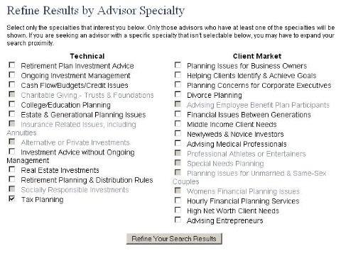 Financial Investment Advice - Search Refinement