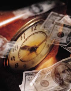 clock with falling money