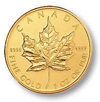 Investing In Gold - 1oz Gold Maple Leaf Bullion Coin