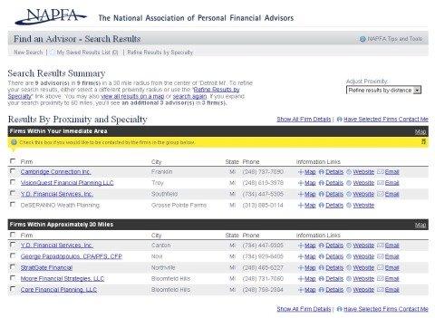 Financial Investment Advice - NAPFA Advisor Search Results