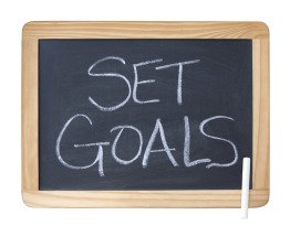 Set Goals Written on a Chalkboard