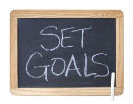 Set Goals Written on a Chalkboard